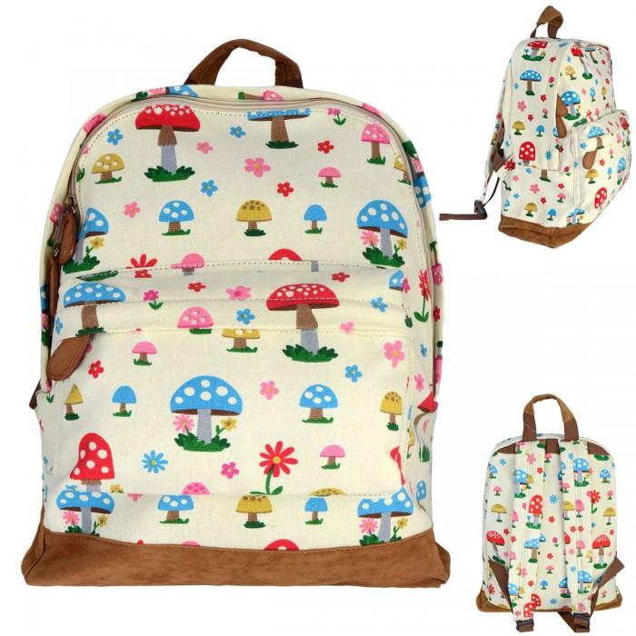 Купить Школьные рюкзаки, Action Рюкзак с принтом Грибы 37х30х12 см