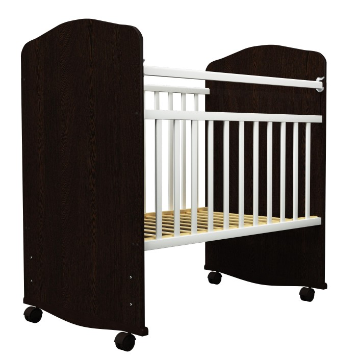 Детская кроватка Агат Золушка 8Золушка 8Агат Детская кроватка Золушка 8 классическая модель со стандартным размером ложа 60 х 120 см, которая станет уютным спальным местом для малыша и удачно впишется в интерьер любой детской комнаты, привлекая внимание плавными линиями и оригинальной комбинированной расцветкой.   Нижняя часть изголовья и изножья кроватки Агат Золушка-8 дополнена полозьями, что позволит мягко укачивать малыша. Кроме того, кроватку можно поставить на колеса, которые обеспечат ей устойчивость и мобильность.   Особенности:  элегантный дизайн кроватки Золушка-8 тщательная обработка элементов конструкции нетоксичные лакокрасочные материалы изголовье и изножье кровати Золушка-8 имеют цельную конструкцию, их верхняя кромка обработана прорезиненным шпоном боковые стенки реечные передняя стенка дополнена опускающейся планкой реечное дно можно зафиксировать в двух положениях оборудована полозьями для укачивания и колесами съемная передняя стенка кроватки размер спального места: 60 х 120 см размеры в собранном виде(ДхШхВ): 125 х 67 х 98 см<br>