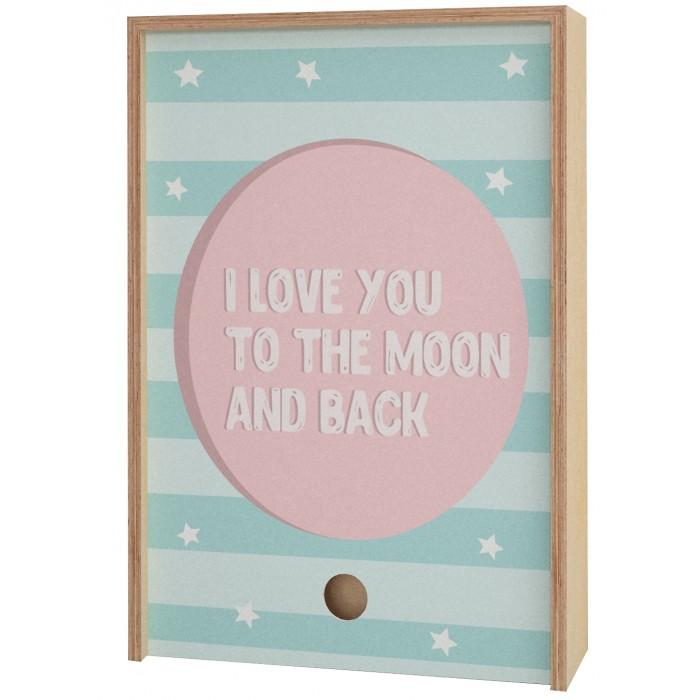 Шкатулки Акушерство Деревянная подарочная коробка Memory Box I love you to the moon and back 30х21х6 см
