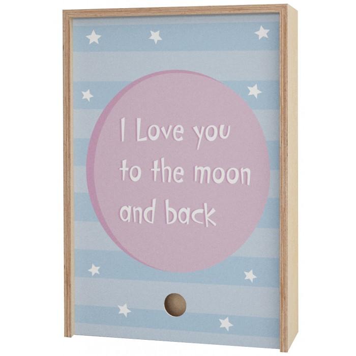 Шкатулки Акушерство Деревянная подарочная коробка Memory Box I love you to the moon and back 38х25х10 см