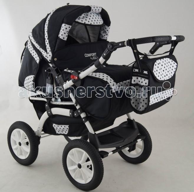 Коляска-трансформер Aliko ComfortComfortКоляска-трансформер Aliko Comfort – это удобное, практичное и надежное транспортное средство для Вашего малыша. Коляска рассчитана на малышей с самого рождения и до 3 лет. Удобный механизм трансформации позволяет быстро превратить коляску для новорожденного в комфортабельный прогулочный лайнер для детишек постарше.   Удобная перекидная ручка регулируется по высоте, благодаря чему Вы с легкостью сможете подобрать удобное положение.  Просторное спальное место с регулировкой угла наклона спинки и высоты подножки делает прогулки малыша максимально комфортными.  Особенности: • Новый усиленный каркас с дополнительной амортизацией • Подвеска на пружинах • Перекидная ручка позволяет возить ребёнка как лицом вперёд, так и назад • Регулируемая ручка • Съемная люлька (спальный мешок), окаймленная мягким хлопком, который не вредит ребёнку • Удобные и мощные тормоза • Большая корзина для Ваших покупок • Большие, надувные, резиновые колеса на подшипниках • Удобный дождевик • Прикреплённая к ручке сумка • Удобный карман на тыльной стороне коляски • Съемная задняя часть коляски • Четыре позиции регулируемой спинки прогулочной коляски • Регулируемая подножка • Пятиточечные фиксации ремней безопасности для удобства использования • Лоток служит барьером • Вся обивка может быть снята и легко постирана  Комплектация: • переноска для младенца • накидка на ножки • сумка для мамы • дождевик  Спальное место: (Д/Ш) 85/36 см. Ширина колесной базы: 61 см. Вес: 16 кг.<br>
