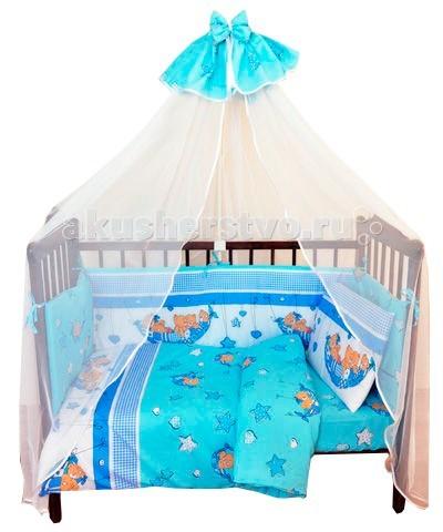 Комплект в кроватку Alis Мишки в гамаке (7 предметов)Мишки в гамаке (7 предметов)Красивый комплект в кроватку Alis Мишки в гамаке (7 предметов), выполненный из бязи. Симпатичные рисунки поднимут настроение и украсят любую кроватку. Насыщенные цвета не поблекнут даже после многочисленных стирок.   Характеристика: 100% хлопок  Съемные борта на молнии Ткани собственного дизайна. Только натуральные ткани Борта из 2х частей На бортах комплекта по 6 завязок Наполнитель подушки и одеяла Аэроофайбер, бортиков - холлкон  В комплекте  простынь (100х150) наволочка (40х60) подушка (38х58) пододеяльник (112х147) одеяло (108х140) бампер (40х360) балдахин-вуаль (170х400)<br>