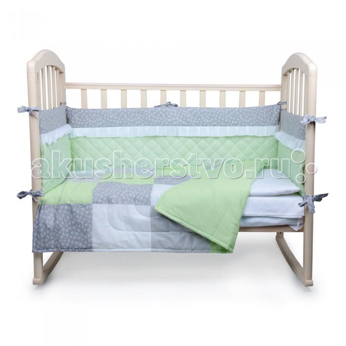 Комплект в кроватку Alis Пэчворк (6 предметов)Пэчворк (6 предметов)Комплект в кроватку Alis Пэчворк (6 предметов) засыпая в кроватке, застеленной нежным, красивым и стильным комплектом белья, малыш погрузится в самые сладкие сказочные сны. Комплект рассчитан специально для малышей. Материал отличается необыкновенной мягкостью и шелковистой фактурой. Прочная и плотная ткань с диагональным переплетением хлопковой нити. Несмотря на повышенную плотность, этот материал отличается необыкновенной мягкостью и шелковистой фактурой.   В комплект входят: наволочка 40 х 60 см подушка 40 х 60 см пододеяльник 110 х 140 см одеяло 110 х 140 см простынь 100 х 150 см  бортик.<br>