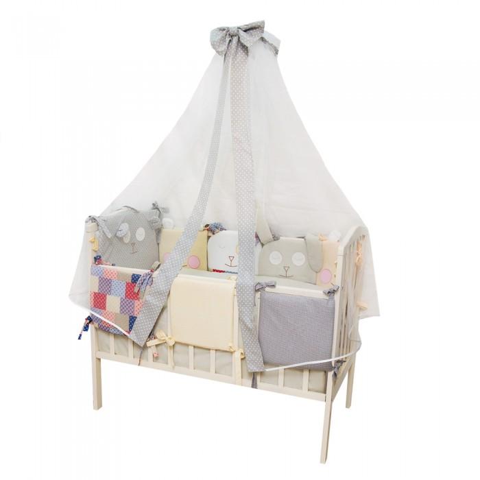 Комплект в кроватку Alis Степашка (16 предметов)Степашка (16 предметов)Alis Комплект в кроватку Степашка (16 предметов)  Комплект в кроватку 16 предметов, бязь,поплин, хлопок 100%, вышивка, подарочная упаковка.  Комплектация:  борт раздельный (состоит из 5-х подушек в форме зверей и 5-ти подушек классической формы) комплект постельного белья  одеяло 110*140  подушка 40*60 балдахин 4 м. Наполнитель HOLLCON<br>