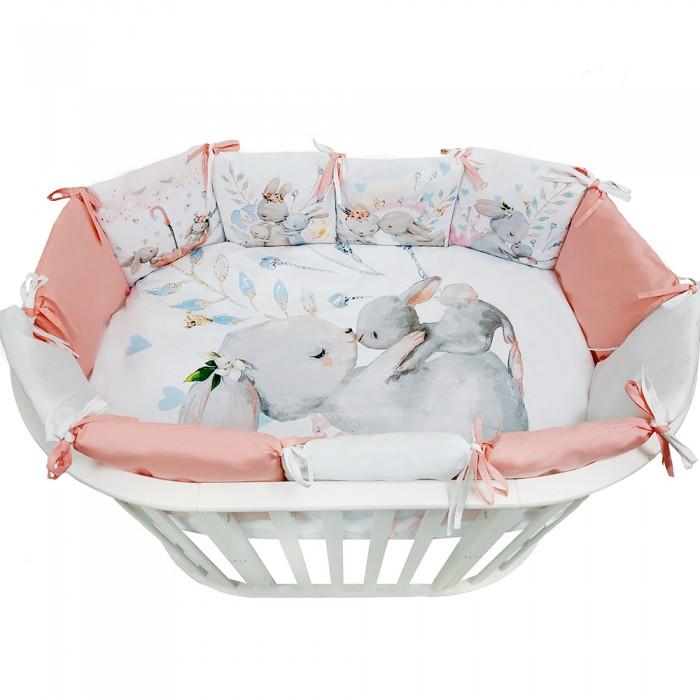 Комплект в кроватку Альма-Няня для овальной кроватки Детская история Акварельные зайки (6 предметов) фото