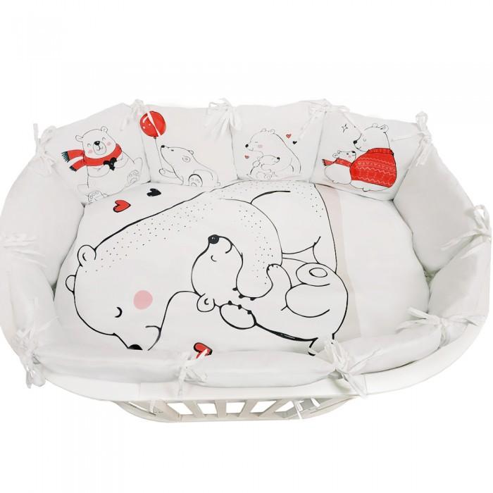 Комплект в кроватку Альма-Няня для овальной кроватки Детская история Белые медведи (6 предметов)