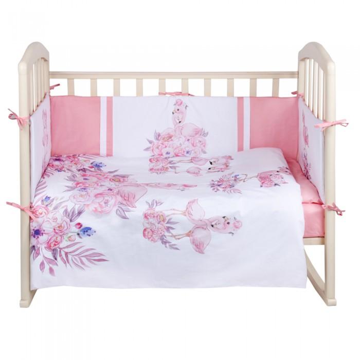 Комплект в кроватку Альма-Няня Детская история Фламинго (6 предметов)