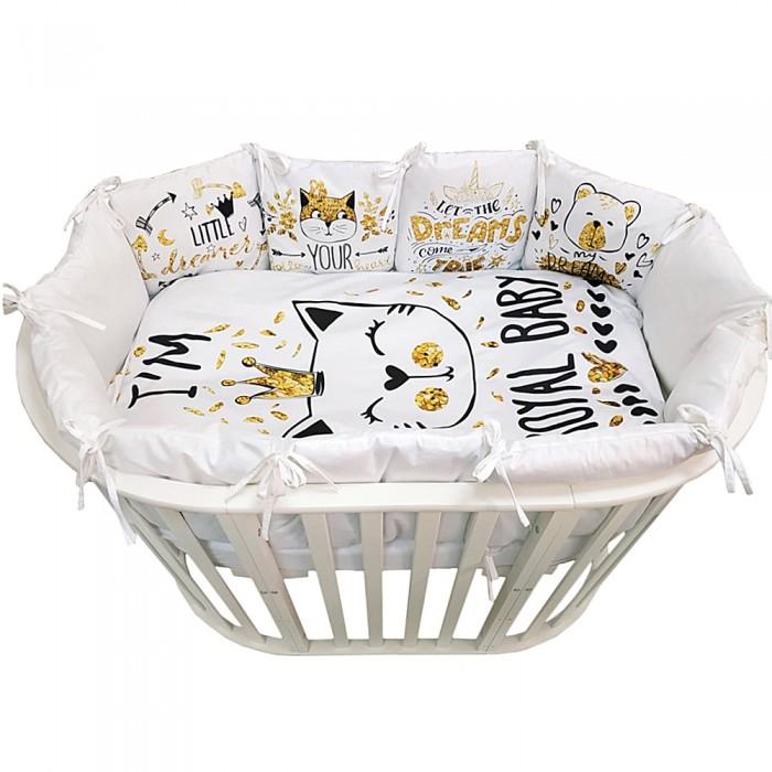 Комплект в кроватку Альма-Няня для овальной кроватки Детская история Кошка в короне (6 предметов)