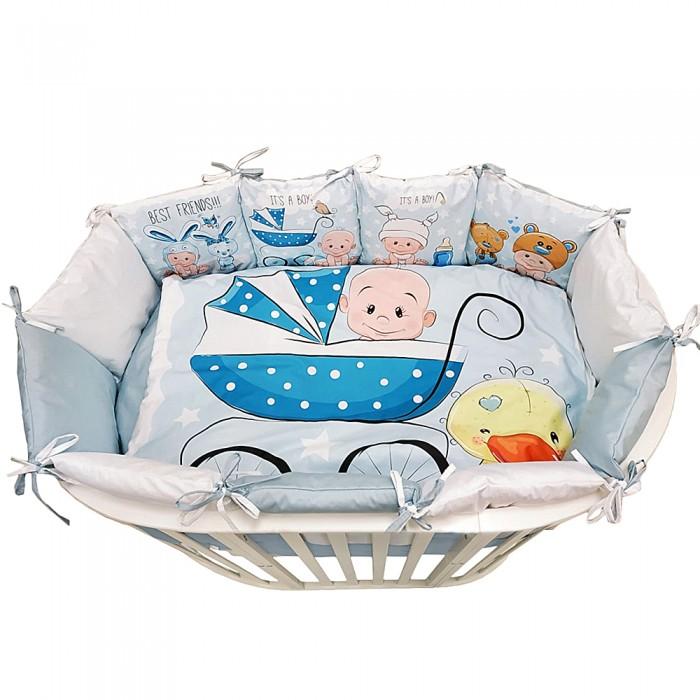 Комплект в кроватку Альма-Няня для овальной кроватки Детская история Мальчик (6 предметов)