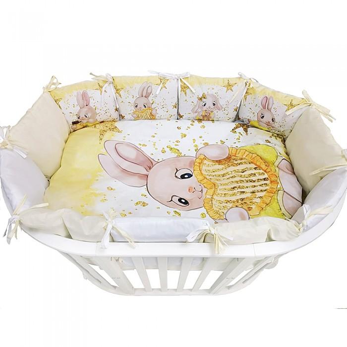 Комплект в кроватку Альма-Няня для овальной кроватки Детская история Зайка с сердцем (6 предметов)