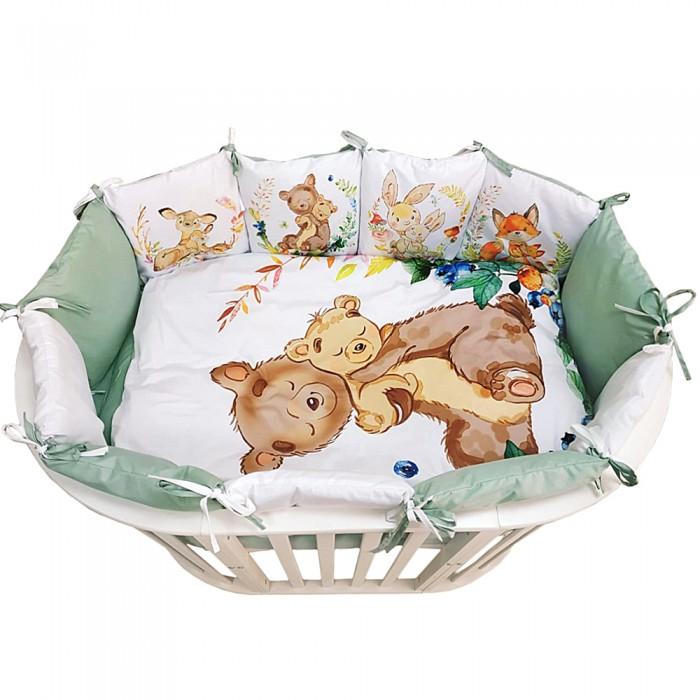 Комплект в кроватку Альма-Няня для овальной кроватки Детская история Зверята (6 предметов)