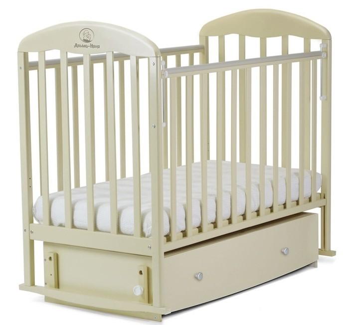 Детская кроватка Альма-Няня Венеция с ящиком (поперечный маятник)