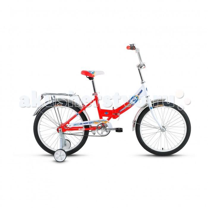 Велосипед двухколесный Altair City Boy 20 Compact (2017)City Boy 20 Compact (2017)Велосипед двухколесный Altair City Boy 20 Compact (2017) с боковыми колесами для обучения катанию на двух колесном велосипеде, он подойдет детям 6-9 лет, или ростом от 120 см.   Прочная стальная рама оснащена механизмом складывания, поэтому велосипед очень компактный и его легко можно перевозить в общественном транспорте или багажнике автомобиля.   Для безопасности ребенка на велосипеде установлена защита цепи, мягкая накладка на руле и звонок. Тормоза у этой модели ножной-педальный, он отличаются простотой в использовании. Руль и сиденье настаиваются под рост.  Особенности: Рама: Складная Материал рамы: Сталь Амортизация: Жесткий Тормоз: Ножной педальный Диаметр колёс: 20 Размеры рам: 13 Вилка: Жесткая, стальная Рулевая колонка: Neco, 1, резьбовая с ограничителем угла Количество скоростей: 1 Вынос: Резьбовой стальной хромированный Руль: Стальной хромированный, комфорт Передняя втулка: Shunfeng Задняя втулка: POWER Каретка: Feimin HB-TB602, стальная Систем:а Golden Swallow GS-S112, стальная хромированная Цепь: KMC C410 Педал:и пластик/сталь Задний тормоз Ножной Передняя покрышк:а Wanda P1023, 20x1,95 (22tpi) Задняя покрышка: Wanda P1023, 20x1,95 (22tpi) Подседельный штырь: Стальной, 25,4x300. Комплектация: Подножка Багажник Звонок Крылья Боковые колеса.<br>