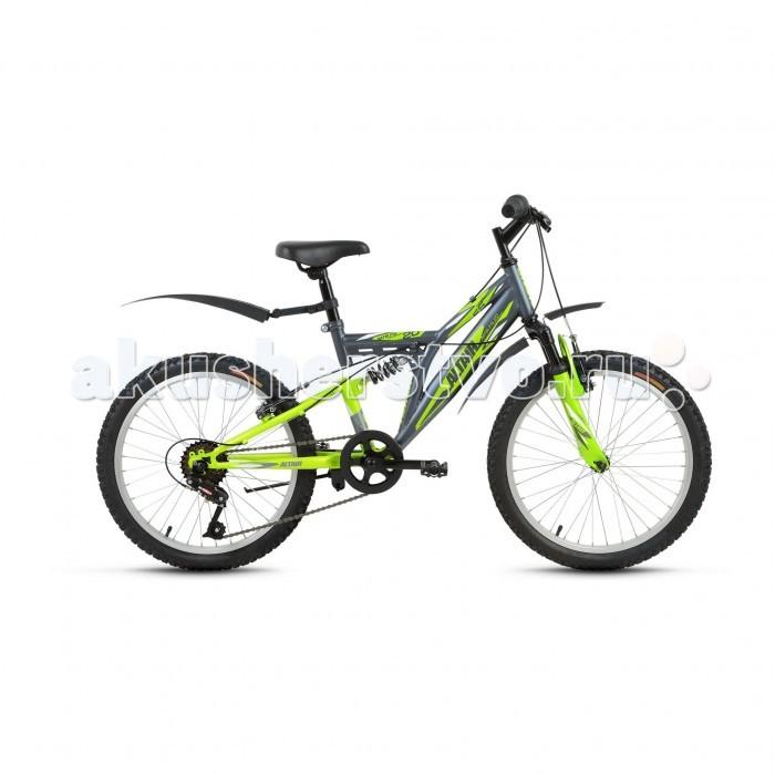 Велосипед двухколесный Altair MTB FS 20 (2017)MTB FS 20 (2017)Велосипед двухколесный Altair MTB FS 20 (2017) для детей в возрасте от пяти до девяти лет, с оборудованием начального класса SunRun, 6 скоростей.   На нем будет одинаково комфортно кататься и по ровной асфальтированной дороге, и по бездорожью. Модель имеет привлекательный и яркий дизайн, оснащена амортизацией, подножкой и крыльями. Велосипед сделан из качественных материалов, надежен, и ребенок будет получать максимальное удовольствие во время катания на нем.  Особенности: стальная рама Hi-Ten амортизационная вилка Partner 116E с ходом 30 мм задний амортизатор одинарные алюминиевые обода надежные ободные тормоза Power VBR-131S V-Brake подножка подходит для обучения и прогулочного катания в городских условиях диаметр колес: 20 дюймов.<br>