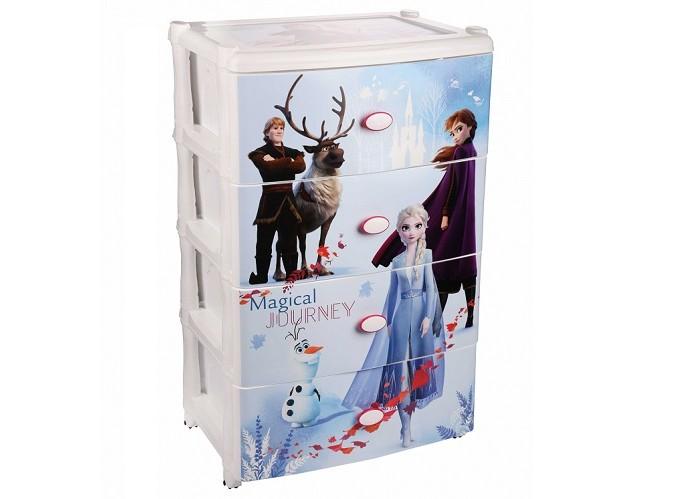 Ящики для игрушек Альтернатива (Башпласт) Комод широкий 4-х секционный Холодное сердце 2