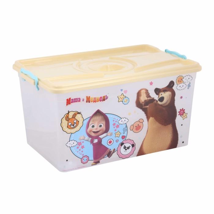 Ящики для игрушек Альтернатива (Башпласт) Контейнер Маша и Медведь 50 л ящики для игрушек альтернатива башпласт контейнер холодное сердце 2 50 л
