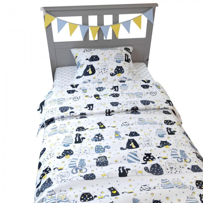 Купить Постельное белье 1.5-спальное, Постельное белье AmaroBaby 1.5 спальное Time to Sleep Котики (3 предмета)