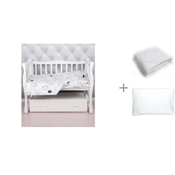 Постельное белье AmaroBaby Baby Boom Овечки (3 предмета) с одеялом Alis 140х108 и подушкой Сонный гномик Бамбук