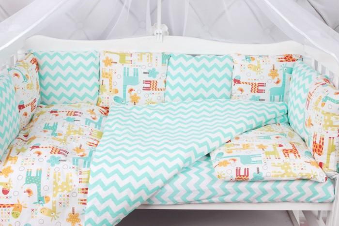 Бортики в кроватку AmaroBaby Жирафики 12 подушек, Бортики в кроватку - артикул:512621