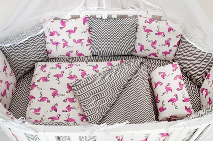 Бортики в кроватку AmaroBaby Фламинго 12 подушек