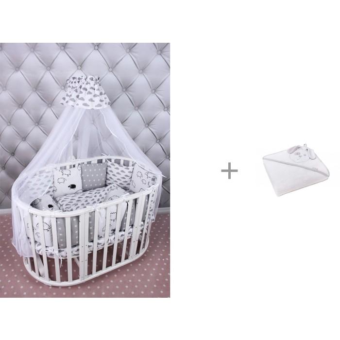 Комплект в кроватку AmaroBaby Good Night (19 предметов) и детское полотенце Perina с капюшоном Зайка