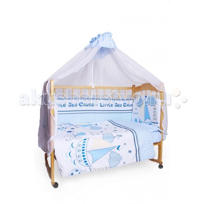 Комплект в кроватку AmaroBaby Круиз (7 предметов)Круиз (7 предметов)Комплект в кроватку AmaroBaby Круиз (7 предметов) включает все необходимые элементы для детской кроватки.   Комплект создает для Вашего ребенка уют, комфорт и безопасную среду с рождения; современный дизайн и цветовые сочетания помогают ребенку адаптироваться в новом для него мире. Комплекты хорошо вписываются в интерьер как детской комнаты, так и спальни родителей.   В комплекте: простынь на резинке 120х60 см подушка 38х58 см наволочка 40х60 см одеяло 107х137 см пододеяльник 147х112 см бампер из 4-х частей со съемными чехлами на молнии 38х360 см балдахин 150х300 см ткань: сатин (100% хлопок)  наполнитель: файберпласт<br>