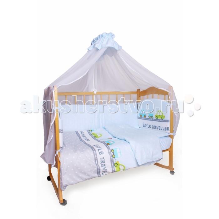 Комплект в кроватку AmaroBaby Little Traveler (7 предметов)Little Traveler (7 предметов)Комплект в кроватку AmaroBaby Little Traveler (7 предметов)  включает все необходимые элементы для детской кроватки.   Комплект создает для Вашего ребенка уют, комфорт и безопасную среду с рождения; современный дизайн и цветовые сочетания помогают ребенку адаптироваться в новом для него мире. Комплекты хорошо вписываются в интерьер как детской комнаты, так и спальни родителей.   В комплекте: простынь на резинке 120х60 см подушка 38х58 см наволочка 40х60 см одеяло 107х137 см пододеяльник 147х112 см бампер из 4-х частей со съемными чехлами на молнии 38х360 см балдахин 150х300 см ткань: сатин (100% хлопок)  наполнитель: файберпласт<br>