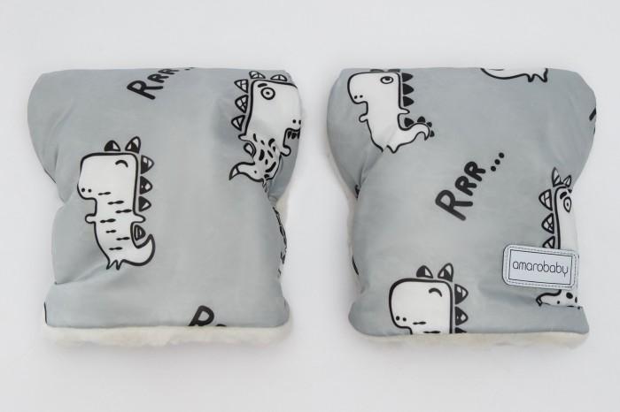 Купить Муфты для рук, AmaroBaby Муфты-варежки на ручку коляски Snowy Travel Динозавры