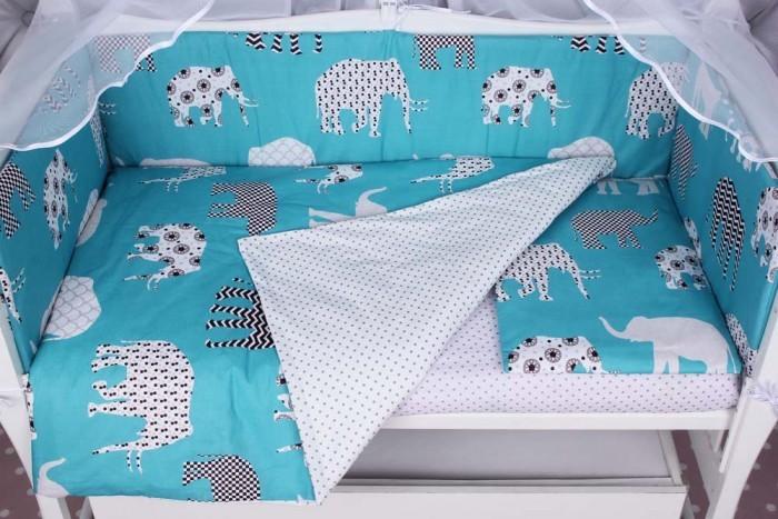 Комплект в кроватку AmaroBaby Слоники (4 предмета)Комплекты в кроватку<br>Комплект в кроватку AmaroBaby Слоники (4 предмета) продуман до мелочей, чтобы малыш чувствовал заботу и нежность с самых первых дней жизни.   Детские комплекты торговой марки AmaroBaby изготавливаются только из 100% натуральных материалов - прочной, но мягкой бязи плотного плетения, которая не вызывает раздражения на нежной коже ребенка и при этом приятная на ощупь.    Комплект прост в уходе, не истончается и не теряет внешнего вида при частых стирках. Также он легко стирается, быстро высыхает и хорошо разглаживается.  В комплекте:  универсальная простынь на резинке: 75х125 см, подходящая как на овальный матрас 75х125 см, так и на прямоугольный матрас 60х120 см, а также простынь можно использовать и для круглого матраса наволочка: 40х60 см пододеяльник: 147х112 см подушки-бортики на молнии: 2 шт. – 60x38 см., 2 шт. – 120x38 см.