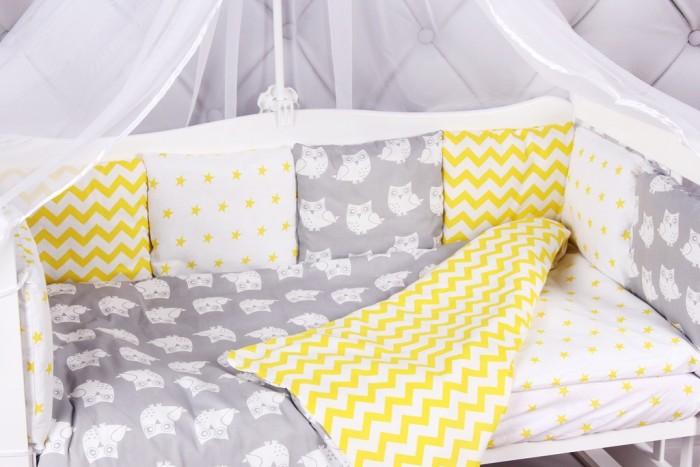 Бортики в кроватку AmaroBaby Совята 12 подушек комплект в кроватку amarobaby 15 предметов 3 12 подушек бортиков совята бязь желтый серый