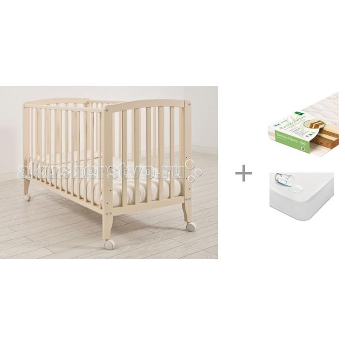 Детские кроватки Angela Bella Бьянка с матрасом Плитекс Bamboo Nature и наматрасником Sweet Baby SB-K013