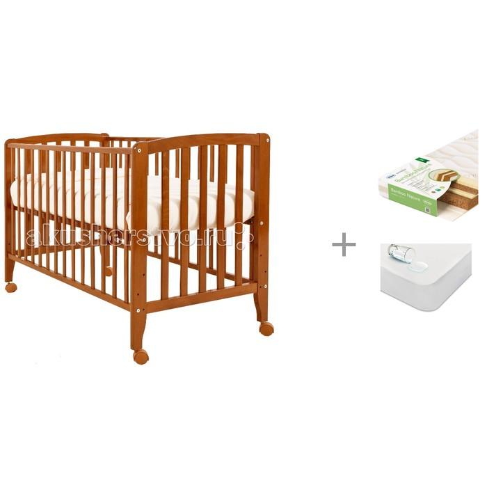 Детская кроватка Angela Bella Бьянка с матрасом Плитекс Bamboo Nature и наматрасником Sweet Baby SB-K013