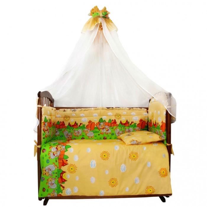 Комплект в кроватку Ангелочки Овечки (7 предметов)Овечки (7 предметов)Комплект в кроватку Ангелочки Овечки (7 предметов) несомненно понравится каждому ребенку!  Комплектация:  Борт высокий раздельный высота 40 см  (верх - бязь набивная, наполнитель - ПЭ)  Балдахин 1,50х4,00 м (вуаль, бязь набивная)  Одеяло 140х110 см  (верх - бязь отбеленная, наполнитель - ПЭ)  Подушка 40х60 см  (верх - бязь отбеленная, наполнитель - ПЭ)  Пододеяльник 147х112 см (бязь набивная) Простыня на резинке 120х60 см (бязь набивная) Наволочка 40х60 см (бязь набивная)<br>