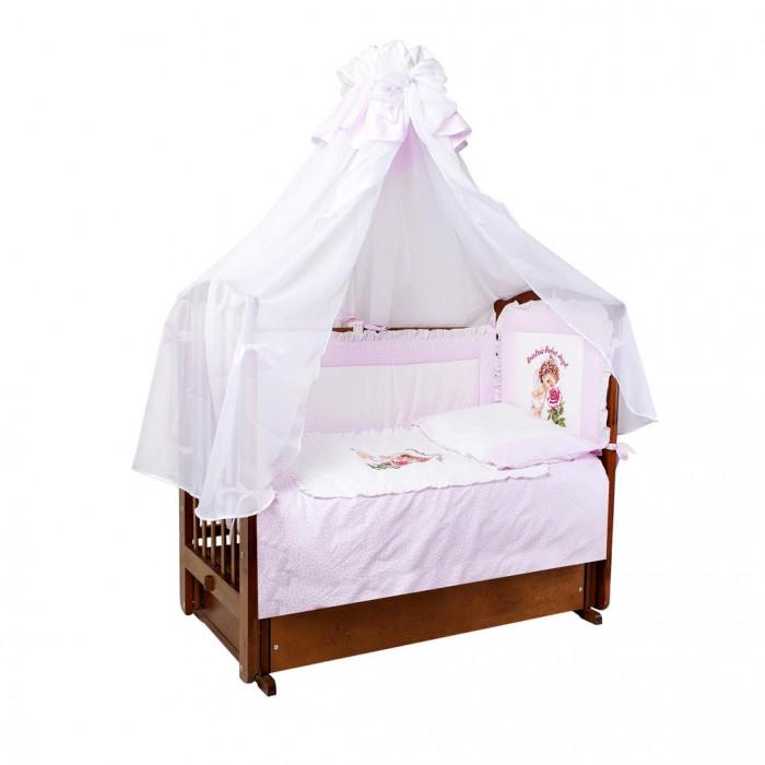 Комплект в кроватку Ангелочки с аппликацией (7 предметов)Комплекты в кроватку<br>Комплект в кроватку Ангелочки с аппликацией из 7 предметов  Бампер со съемным чехлом, расположенный по всему периметру кроватки, состоит из 4-х частей. Ткань легко стирается и не линяет даже при использовании высоких температур. Мягкий борт защитит малыша от сквозняков и убережет от возможных ударов о бортики кроватки. Все постельные принадлежности в комплекте безопасны и гипоаллергенные.  В комплекте:  Борт высокий раздельный высота 40 см  (верх - бязь набивная, наполнитель - ПЭ)  Балдахин 1,50х4,00 м (вуаль, бязь набивная)  Одеяло 140х110 см  (верх - бязь отбеленная, наполнитель - ПЭ)  Подушка 40х60 см  (верх - бязь отбеленная, наполнитель - ПЭ)  Пододеяльник 147х112 см (бязь набивная) Простыня 100х150 см (бязь набивная) Наволочка 40х60 см (бязь набивная)