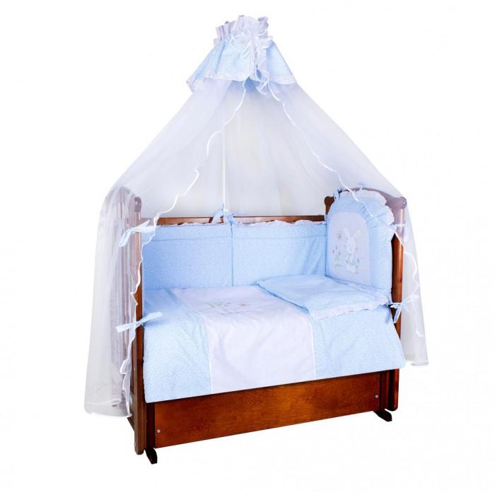 Комплект в кроватку Ангелочки Зайка на полянке (7 предметов)