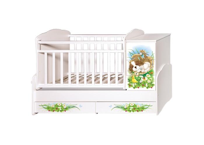 Детская мебель , Кроватки-трансформеры Антел Ульяна 1 Щенки поперечный маятник арт: 468566 -  Кроватки-трансформеры