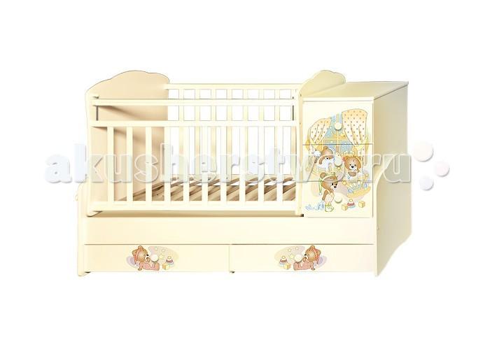 Детская мебель , Кроватки-трансформеры Антел Ульяна 1 Медвежата (поперечный маятник) арт: 323449 -  Кроватки-трансформеры