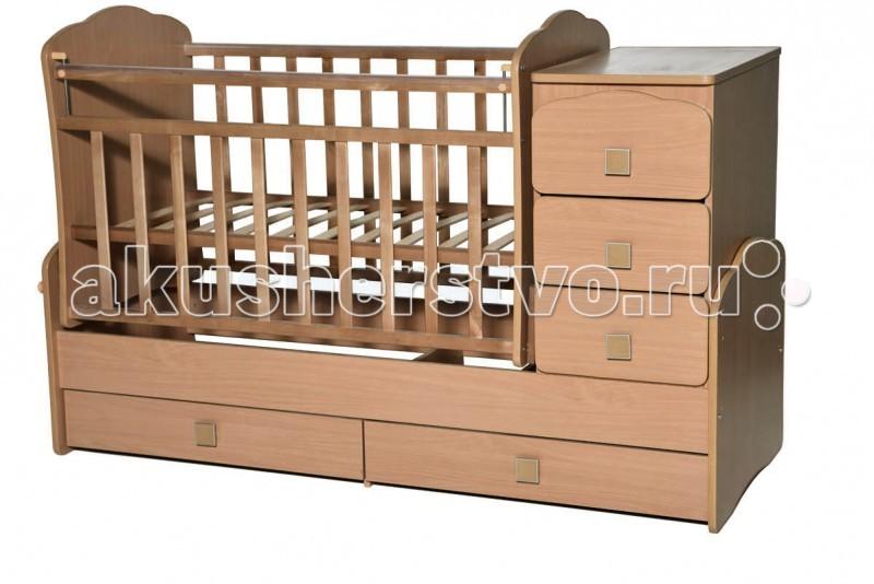 Кроватка-трансформер Антел Ульяна 1 фигурные спинки поперечный маятникУльяна 1 фигурные спинки поперечный маятникКроватка-трансформер Антел Ульяна 1 фигурные спинки поперечный маятник  Детская кровать трансформер Ульяна 1 с маятниковым механизмом поперечного качания – кроватка 2 в 1, функциональная кроватка с встроенным комодом, позволяет значительно сэкономить пространство в детской комнате.  Кроватка Ульяна 1 сочетает в себе: кроватку; комод для хранения детских вещей; большой выдвижной ящик внизу кроватки.  Кроватка трансформер Ульяна-1 рассчитана для детей с рождения и до подросткового возраста. Чтобы увеличить размер спального места достаточно снять боковые стенки и комод.  Особенности: Дно кроватки реечное имеет 2 уровня крепления по высоте. Поднятое ложе обеспечивает оптимальное положение грудного младенца, опущенное - гарантирует безопасность активного малыша боковая планка при необходимости легко снимается комод снимается, увеличивая размер спального места на 40 см. спальное место для новорожденного малыша – 120 х 60 см спальное место для подростка – 170 х 60 см  размеры комода – 40 см на 60 см.<br>