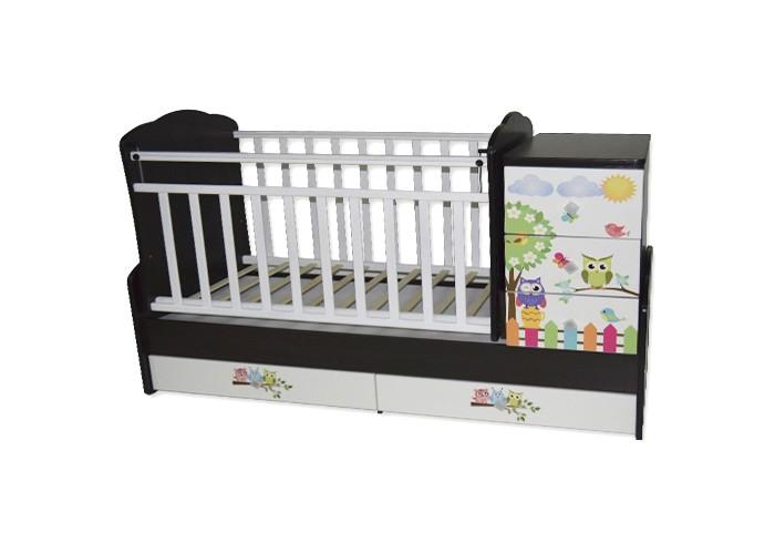 Кроватка-трансформер Антел Ульяна 1 Совята поперечный маятникУльяна 1 Совята поперечный маятникКроватка-трансформер Антел Ульяна 1 Совята поперечный маятник – кроватка 2 в 1, функциональная кроватка с встроенным комодом, позволяет значительно сэкономить пространство в детской комнате.  Кроватка Ульяна 1 сочетает в себе: кроватку; комод для хранения детских вещей; большой выдвижной ящик внизу кроватки.  Кроватка трансформер Ульяна-1 рассчитана для детей с рождения и до подросткового возраста. Чтобы увеличить размер спального места достаточно снять боковые стенки и комод.  Особенности: дно кроватки реечное имеет 2 уровня крепления по высоте. Поднятое ложе обеспечивает оптимальное положение грудного младенца, опущенное - гарантирует безопасность активного малыша боковая планка при необходимости легко снимается комод снимается, увеличивая размер спального места на 40 см.  спальное место для новорожденного малыша – 120 х 60 см спальное место для подростка – 170 х 60 см  размеры комода – 40 см на 60 см.  Материал: сосна + ДСП, фасад - МДФ.<br>