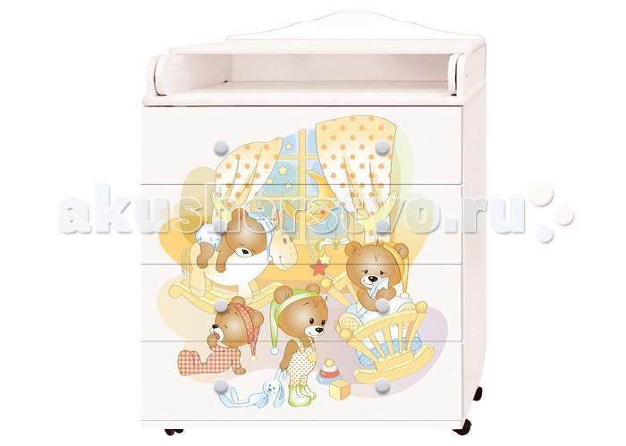 Детская мебель , Комоды Антел Ульяна 2 Медвежата пеленальный 800/4 (4 ящика) арт: 323609 -  Комоды
