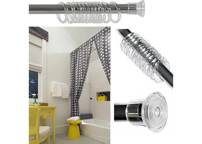 Аксессуары для ванн Aqua-Prime Карниз телескопический для ванной 110-210 см карниз томдом раздвижной телескопический корст коньяк ширина 1 60 3 00 см