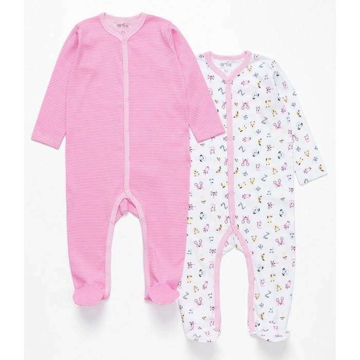 Боди, песочники, комбинезоны Artie Комбинезон для девочек Basic Babywear Полоски 2AK-611d 2 шт. недорого