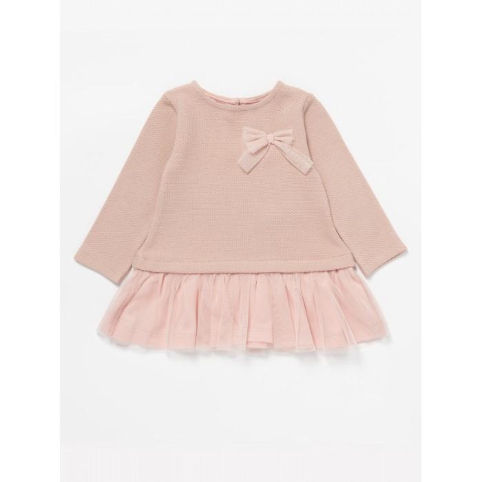 Детская одежда , Детские платья и сарафаны Artie Платье для девочки из вязаной ткани и фатина Лисы АPl-026d арт: 450404 -  Детские платья и сарафаны
