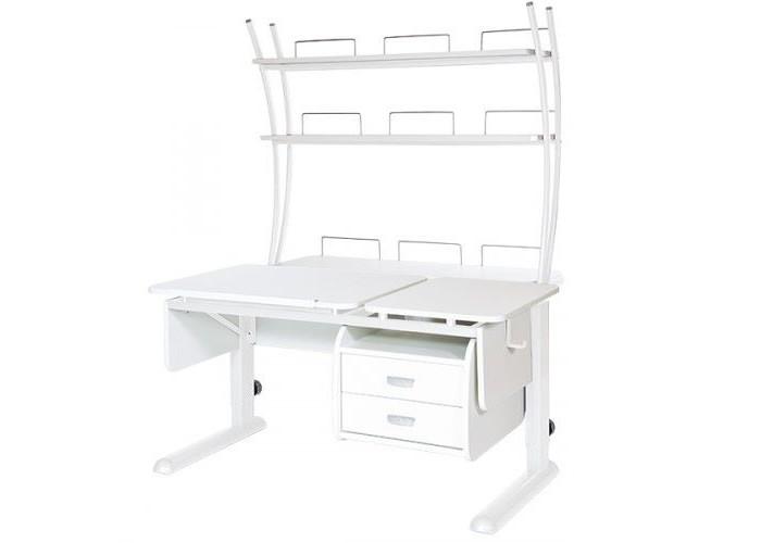 Школьные парты Астек Парта Твин-2 с надстройкой и тумбой (столешница белая) детские столы и стулья астек парта моно 2 с надстройкой столешница белая
