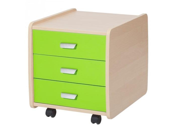 Детская мебель , Комоды Астек Тумба Лидер береза с цветными фасадами (3 ящика) арт: 509976 -  Комоды