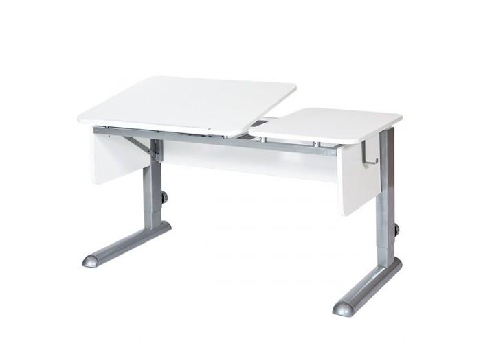 Астек Стол Твин-2 (столешница белая)Стол Твин-2 (столешница белая)Астек Стол Твин-2 (столешница белая) растет вместе с ребенком.  Это возможно благодаря регулируемой высоте ножек парты. Уровень наклона столешницы тоже может изменяться от 0° до 45° с помощью ступенчатого механизма (10 положений).  «Приятные мелочи» в виде съемного крючка для портфеля сделают учебный процесс комфортней. Часть столешницы может быть приподнята, другая часть оставаться горизонтальной. При сборке можно поменять местами.  Особенности: Раздельная столешница: 72 х 58 см - наклонная; 40,5 х 58 см - стационарная; Стационарная часть может быть как справа, так и слева, решается при сборке; Парта подходит для роста ребенка от 112 см до 198 см; Ступенчатая регулировка столешницы от 0° до 45° (10 положений);<br>