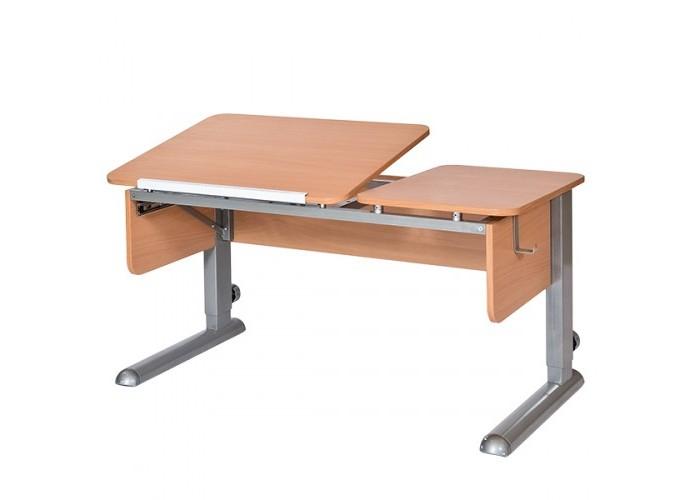 Астек Стол Твин-2 (столешница бук)Стол Твин-2 (столешница бук)Астек Стол Твин-2 (столешница бук) растет вместе с ребенком.  Это возможно благодаря регулируемой высоте ножек парты. Уровень наклона столешницы тоже может изменяться от 0° до 45° с помощью ступенчатого механизма (10 положений).  «Приятные мелочи» в виде съемного крючка для портфеля сделают учебный процесс комфортней. Часть столешницы может быть приподнята, другая часть оставаться горизонтальной. При сборке можно поменять местами.  Особенности: Раздельная столешница: 72 х 58 см - наклонная; 40,5 х 58 см - стационарная; Стационарная часть может быть как справа, так и слева, решается при сборке; Парта подходит для роста ребенка от 112 см до 198 см; Ступенчатая регулировка столешницы от 0° до 45° (10 положений);<br>