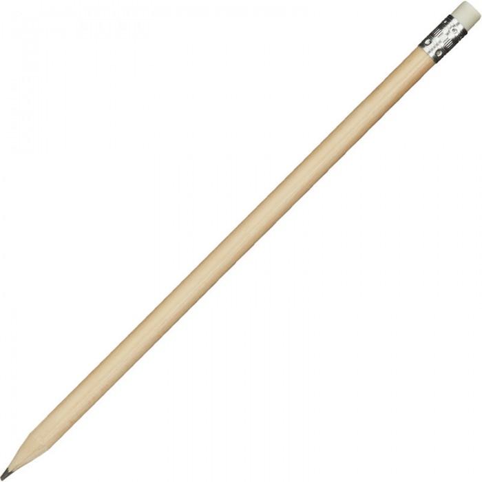 Карандаши, восковые мелки, пастель Attache Карандаш чернографитный круглый с ластиком HB