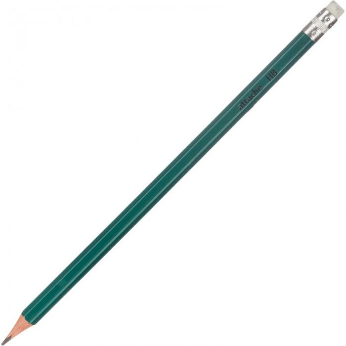 Карандаши, восковые мелки, пастель Attache Карандаш чернографитный с ластиком HB 3848