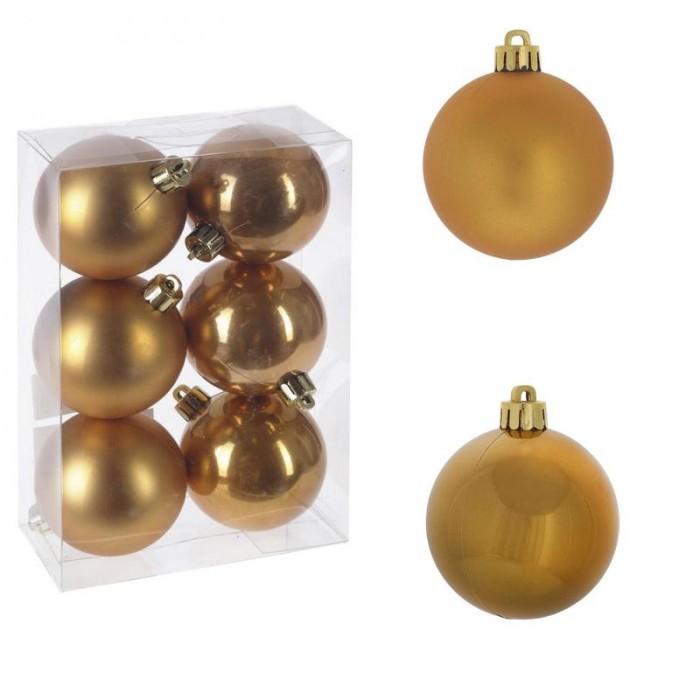 Елочные игрушки Attache Набор новогодних шаров Золотое руно 6 см 6 шт. набор la redoute из новогодних шаров золотистого цвета caspar единый размер желтый
